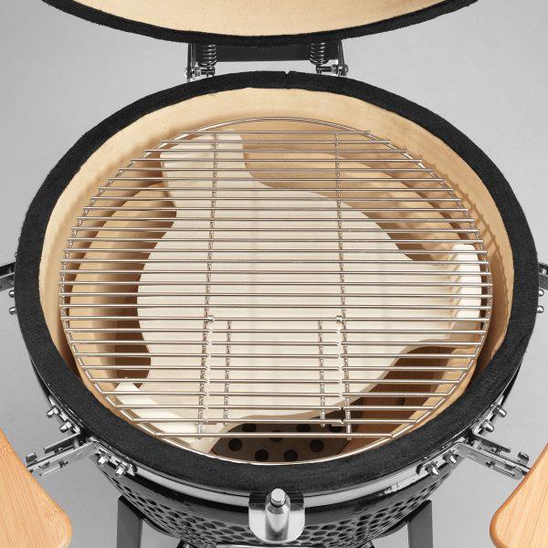 JUSTUS Keramik-Griller Black J'Egg XL Duo – Einsatz der Hitzeschutzplatte