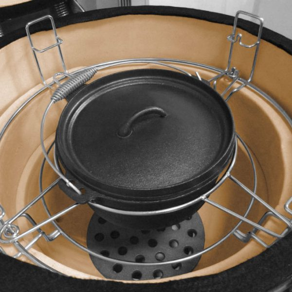 JUSTUS Keramik-Griller Black J'Egg XL Duo – Einsatz des Schmortopfes